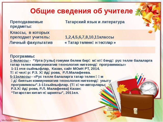 Общие сведения об учителе Преподаваемые предметы: Татарский язык и литература...