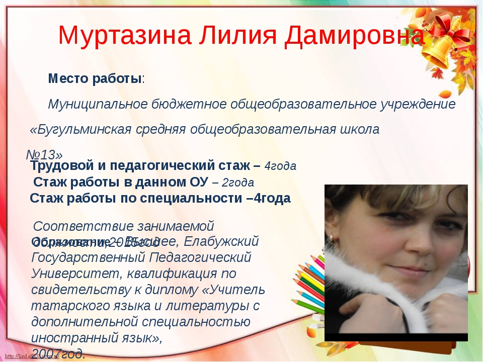 Муртазина Лилия Дамировна Место работы: Муниципальное бюджетное общеобразоват...