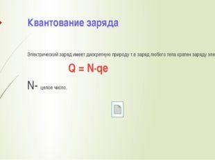 Квантование заряда Электрический заряд имеет дискретную природу т.е заряд люб