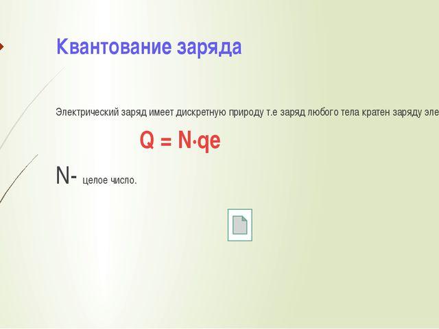 Квантование заряда Электрический заряд имеет дискретную природу т.е заряд люб...