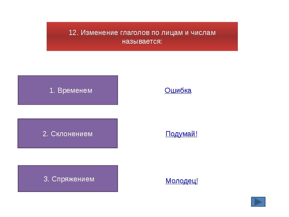 12. Изменение глаголов по лицам и числам называется: 1. Временем 2. Склонение...