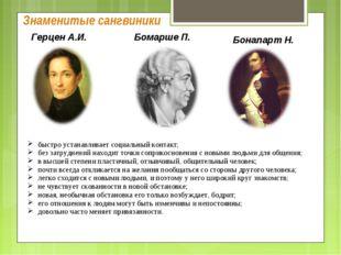 Знаменитые сангвиники Герцен А.И. Бомарше П. Бонапарт Н. быстро устанавливает