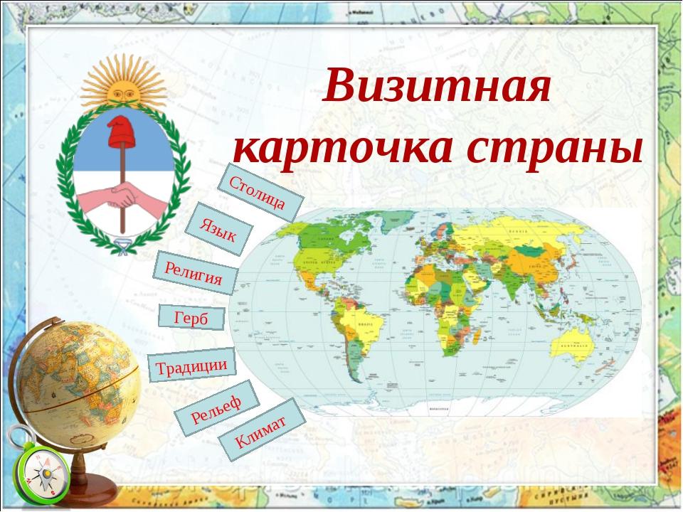 Визитная карточка страны Герб Язык Традиции Религия Рельеф Столица Климат