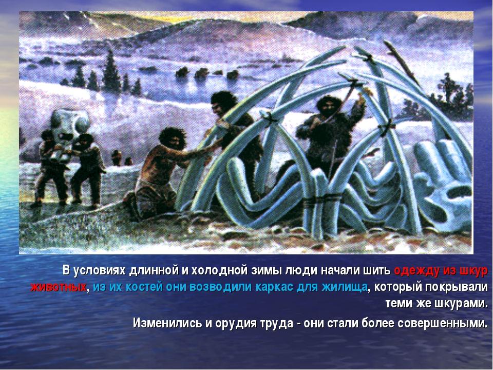 В условиях длинной и холодной зимы люди начали шить одежду из шкур животных,...