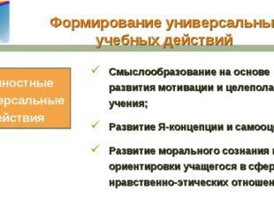 Формирование универсальных учебных действий Смыслообразование на основе разви