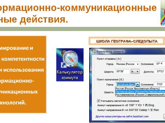 Информационно-коммуникационные учебные действия. ШКОЛА ГЕОГРАФА–СЛЕДОПЫТА