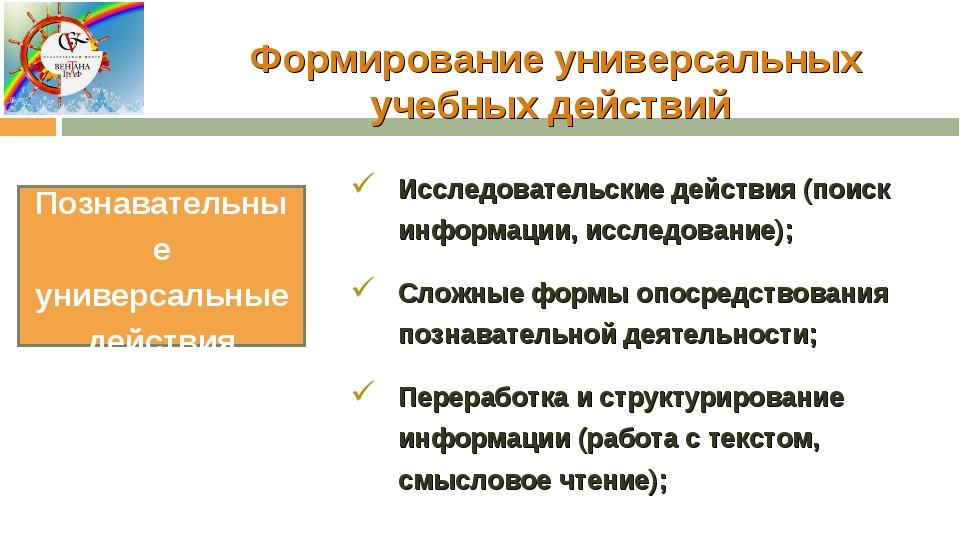 Формирование универсальных учебных действий Исследовательские действия (поиск...