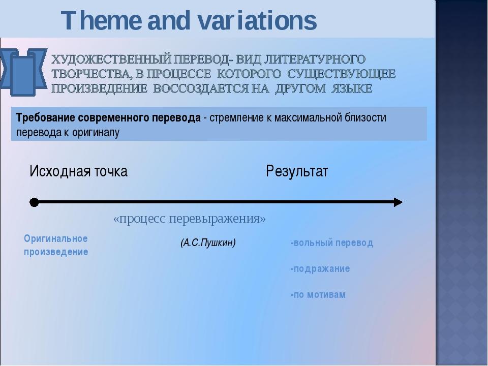 Исходная точка Результат «процесс перевыражения» (А.С.Пушкин) -вольный перев...