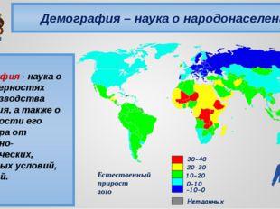 Демография – наука о народонаселении Демография– наука о закономерностях восп