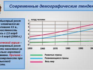 Современные демографические тенденции Особенно быстрый рост населения отмечал