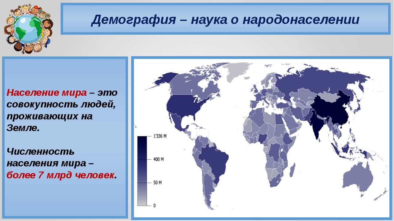 Демография – наука о народонаселении Население мира – это совокупность людей,...