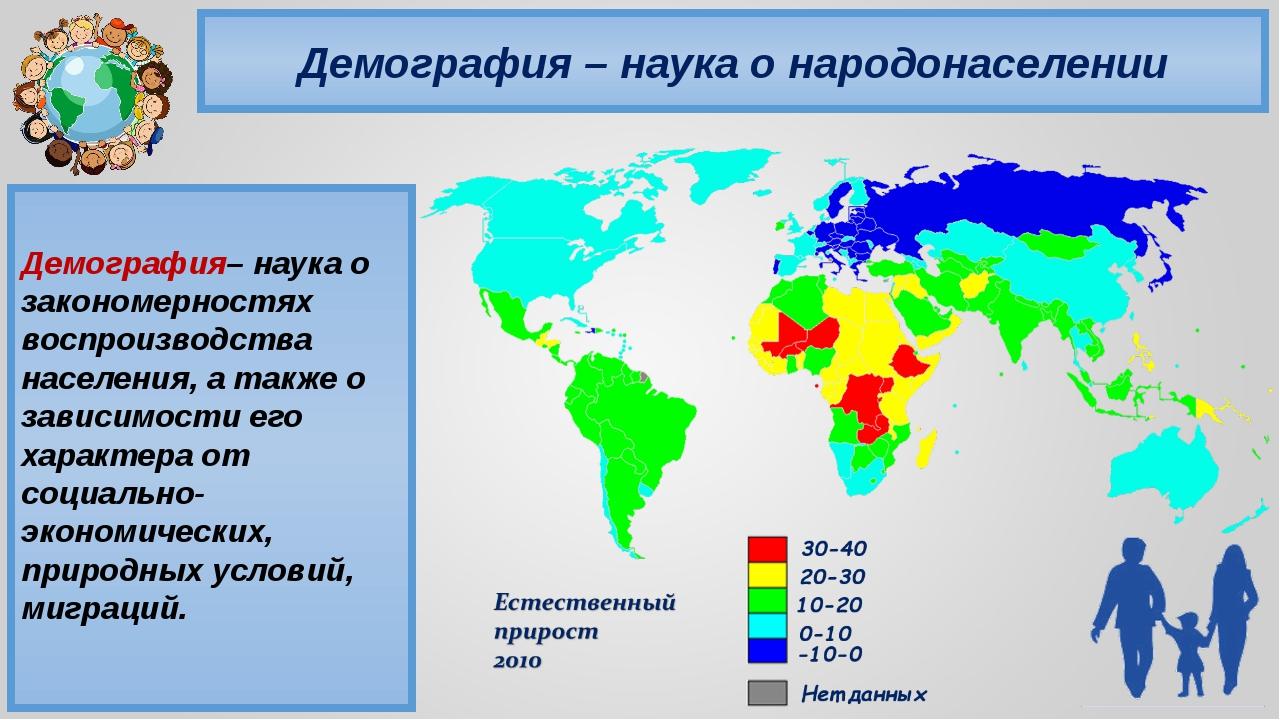Демография – наука о народонаселении Демография– наука о закономерностях восп...