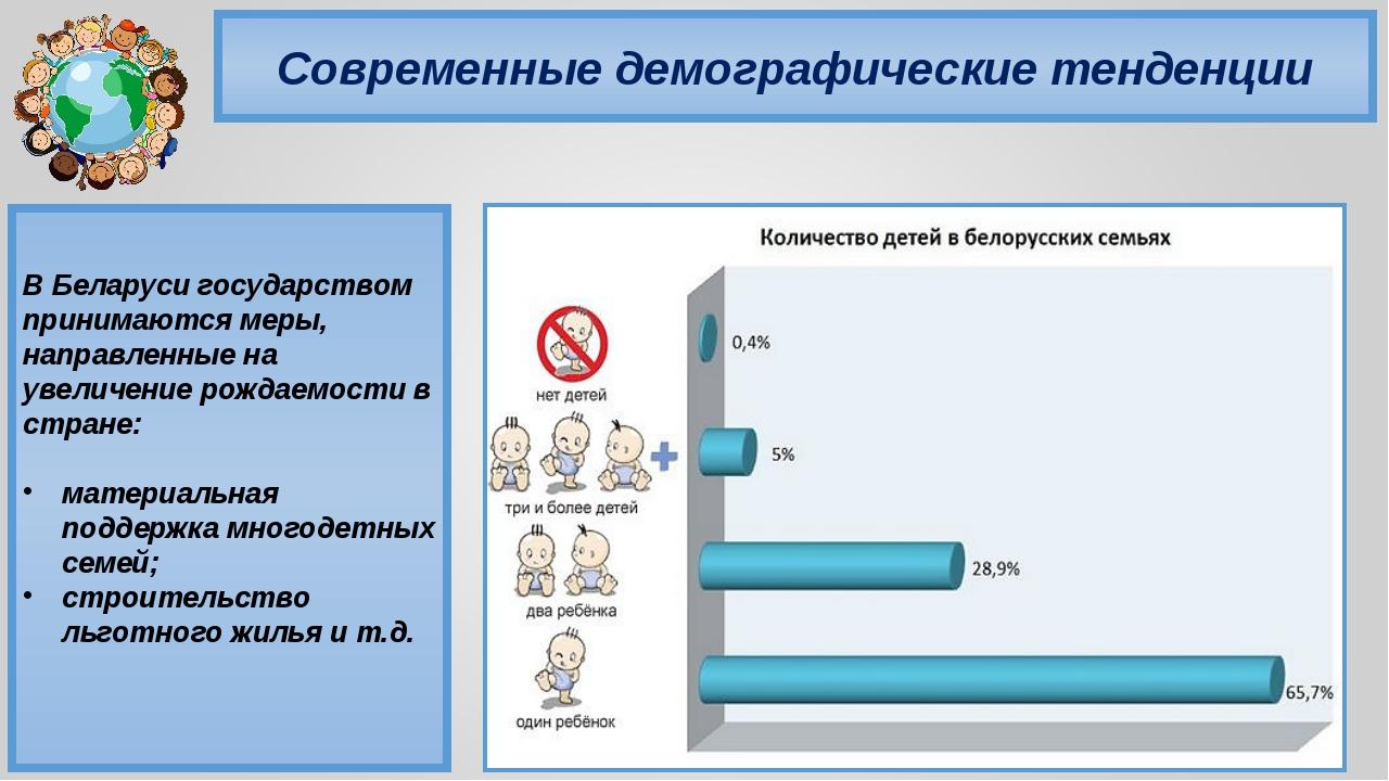 Современные демографические тенденции В Беларуси государством принимаются мер...