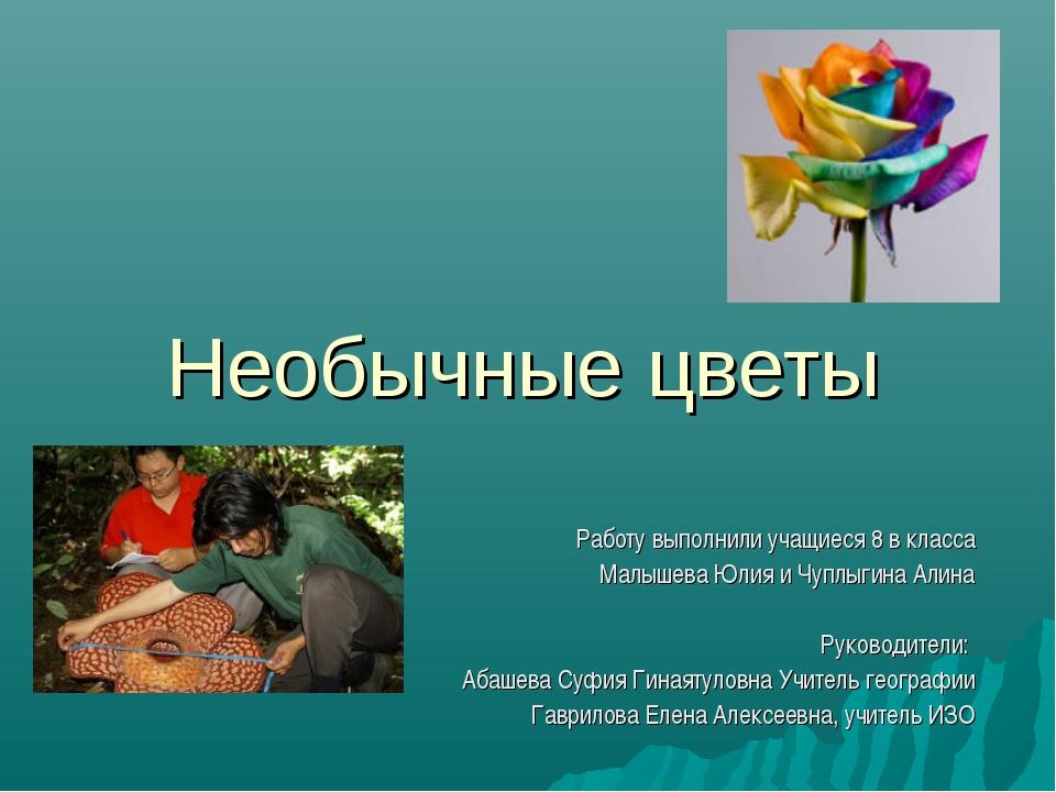 Необычные цветы Работу выполнили учащиеся 8 в класса Малышева Юлия и Чуплыгин...