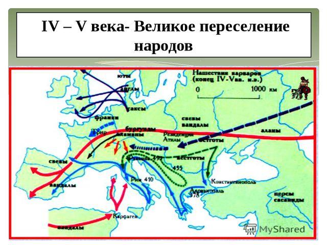 IV – V века- Великое переселение народов