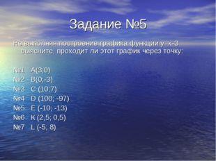 Задание №5 Не выполняя построение графика функции у=х-3 выясните, проходит ли