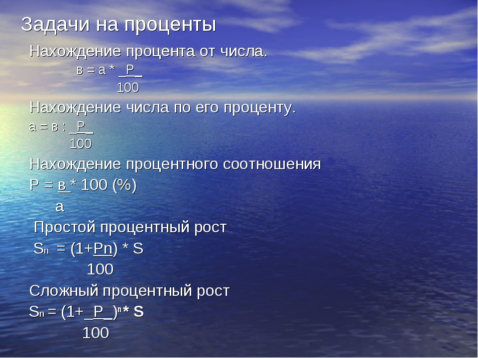 Задачи на проценты Нахождение процента от числа. в = а * _Р_ 100 Нахождение ч...
