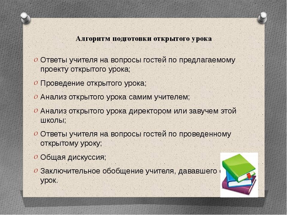 Алгоритм подготовки открытого урока Ответы учителя на вопросы гостей по предл...