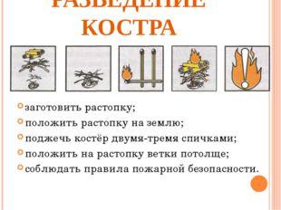 РАЗВЕДЕНИЕ КОСТРА заготовить растопку; положить растопку на землю; поджечь ко