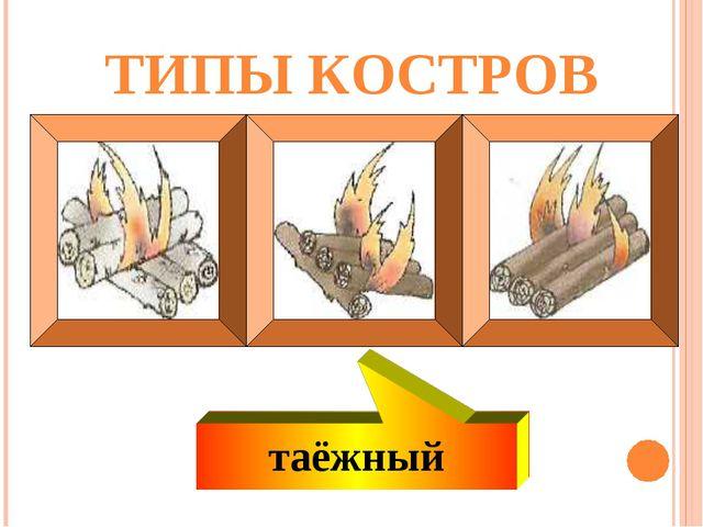 ТИПЫ КОСТРОВ таёжный