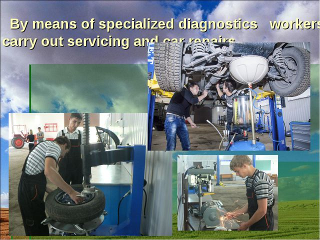 By means of specialized diagnostics workers carry out servicing and car repa...
