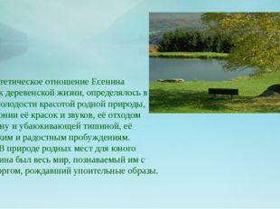Эстетическое отношение Есенина к деревенской жизни, определялось в его молод
