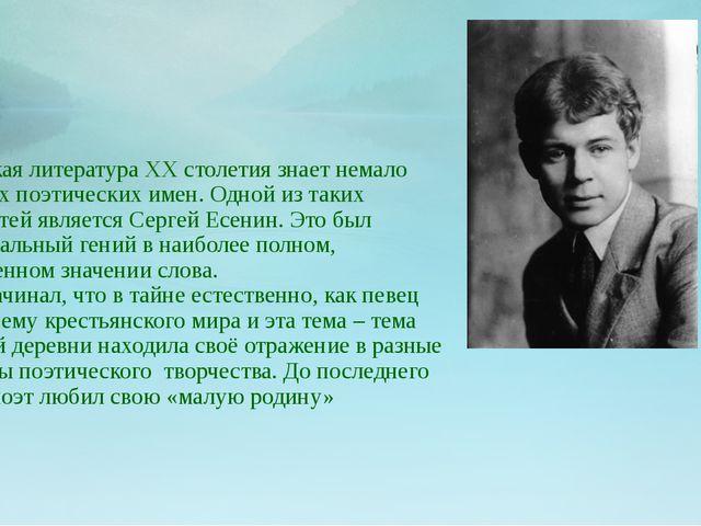 Русская литература ХХ столетия знает немало громких поэтических имен. Одной...