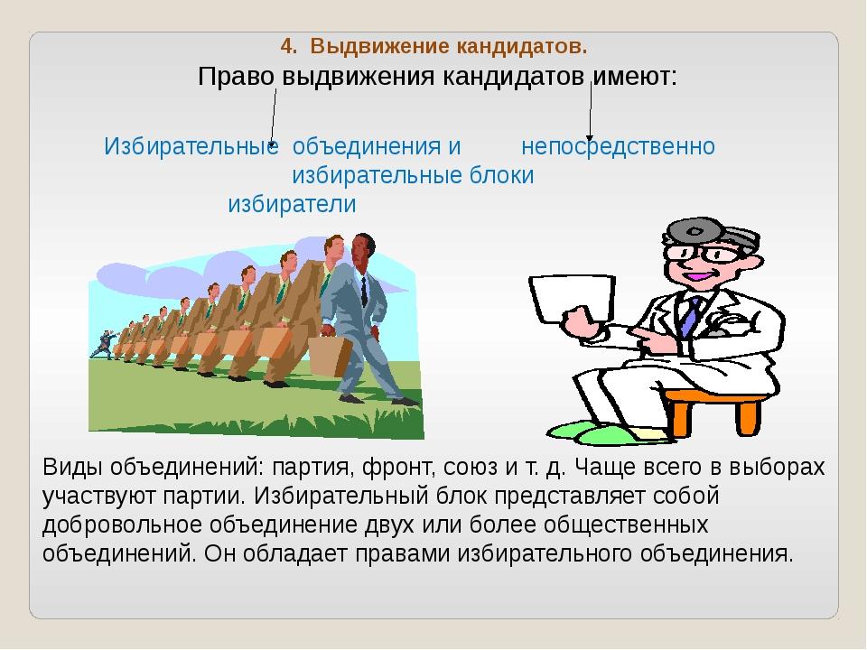 4. Выдвижение кандидатов. Право выдвижения кандидатов имеют: Избирательные об...