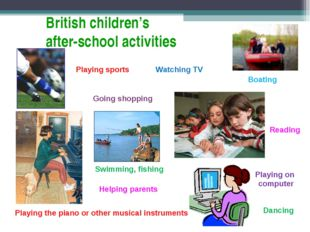 British children's after-school activities Playing sports Playing the piano o