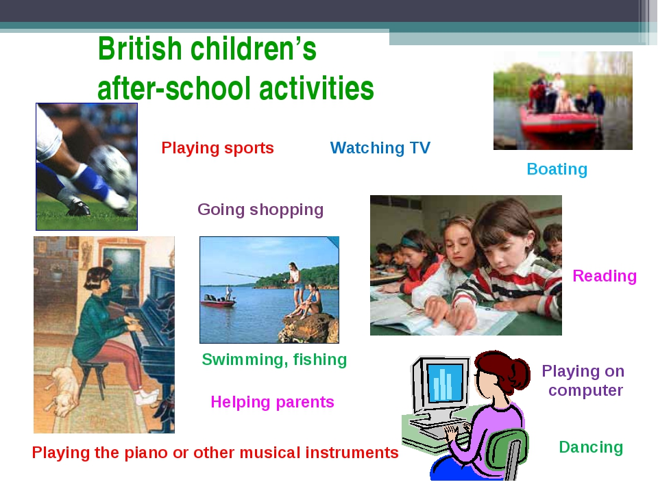 British children's after-school activities Playing sports Playing the piano o...