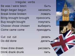 Irregular verbs Be was / were been быть Begin began begun начинать Break bro