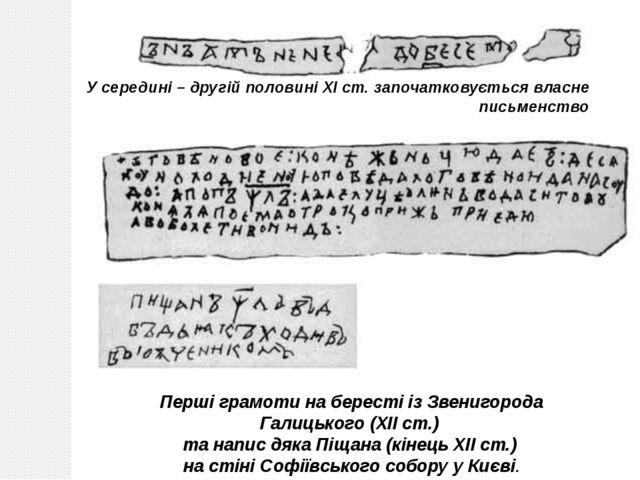 Перші грамоти на бересті із Звенигорода Галицького (ХІІ ст.) та напис дяка Пі...