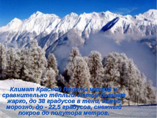 Климат Красной Поляны мягкий и сравнительно тёплый. Летом бывает жарко, до 3...