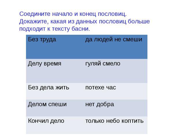 Соедините начало и конец пословиц. Докажите, какая из данных пословиц больше...
