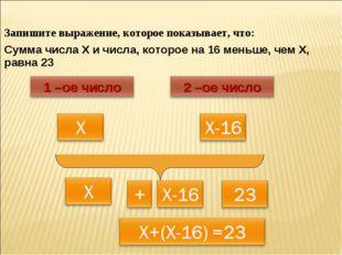 Запишите выражение, которое показывает, что: Сумма числа Х и числа, которое н