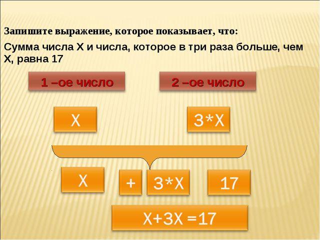Запишите выражение, которое показывает, что: Сумма числа Х и числа, которое в...