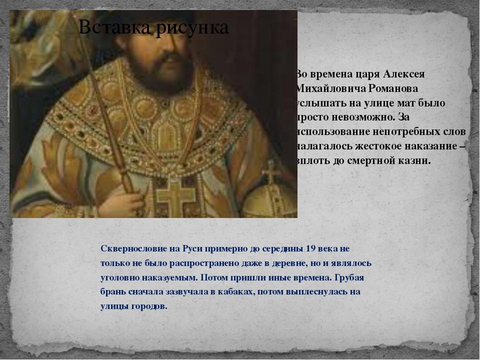 Во времена царя Алексея Михайловича Романова услышать на улице мат было прост...