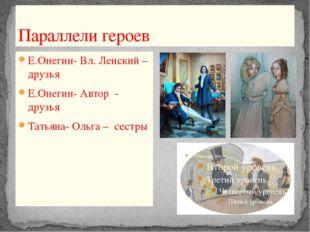 Параллели героев Е.Онегин- Вл. Ленский –друзья Е.Онегин- Автор - друзья Татья