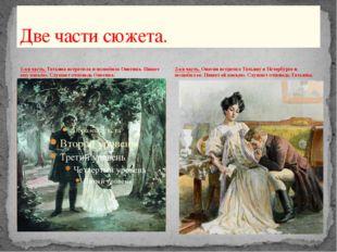 1-ая часть. Татьяна встретила и полюбила Онегина. Пишет ему письмо. Слушает о