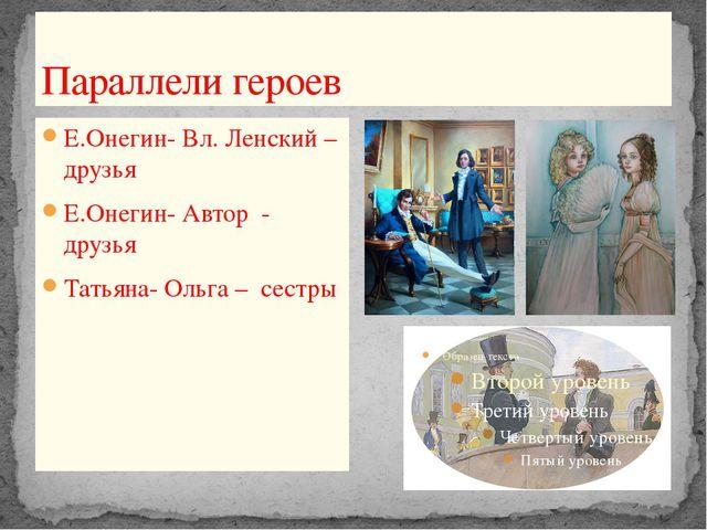 Параллели героев Е.Онегин- Вл. Ленский –друзья Е.Онегин- Автор - друзья Татья...