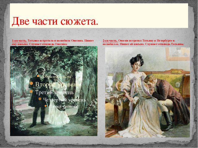 1-ая часть. Татьяна встретила и полюбила Онегина. Пишет ему письмо. Слушает о...