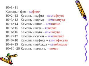 10+1=11 Кемонь и фкя – кефкие 10+2=12 Кемонь и кафта – кемгафтува 10+3=13 Кем