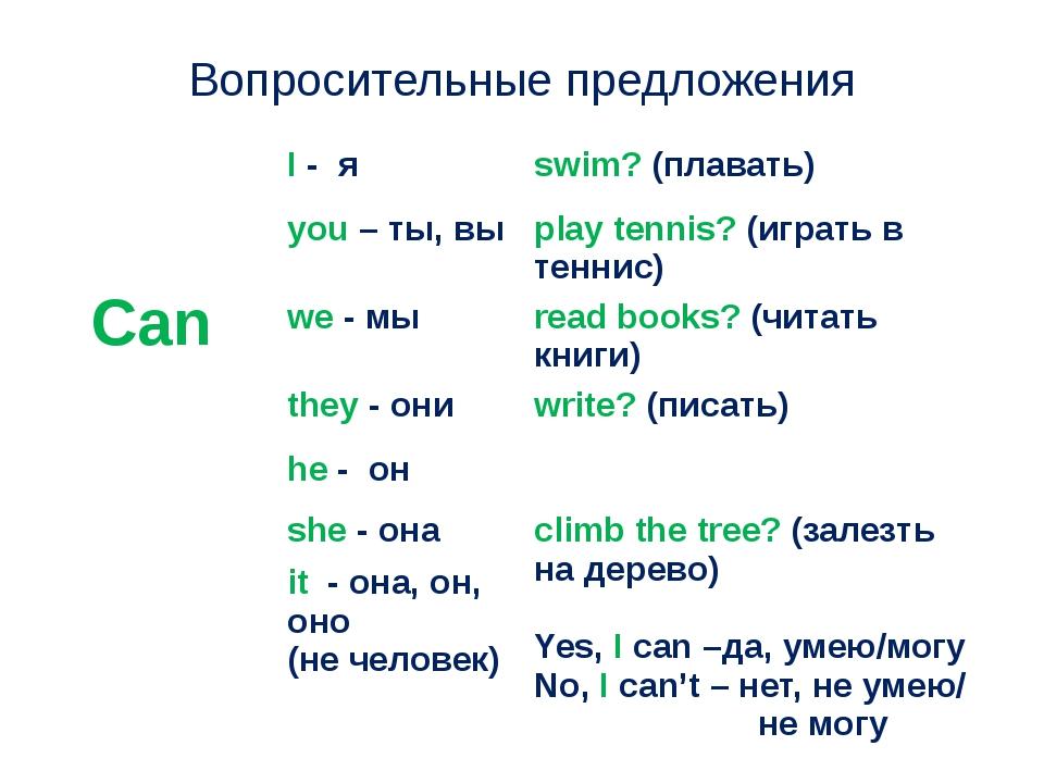 Вопросительные предложения Can I-я swim?(плавать) you– ты,вы play tennis?(игр...