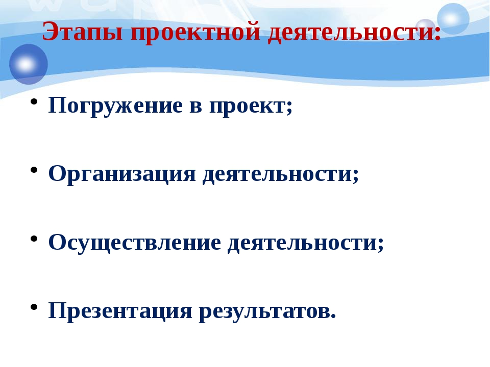 Этапы проектной деятельности: Погружение в проект; Организация деятельности;...