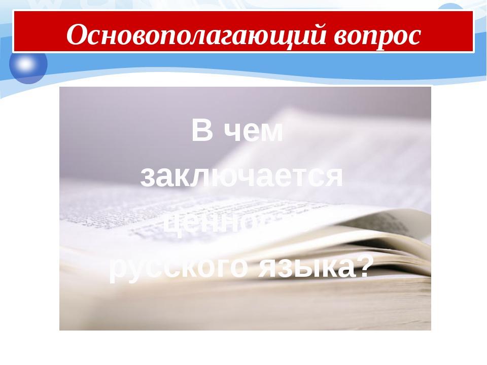 В чем заключается ценность русского языка? Основополагающий вопрос