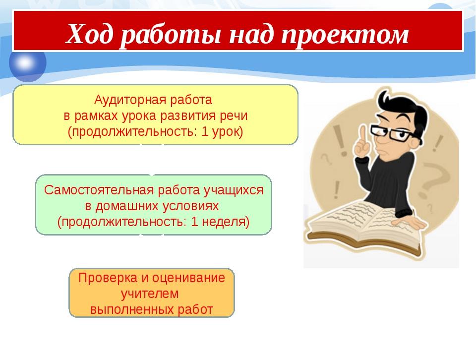 Ход работы над проектом Аудиторная работа в рамках урока развития речи (прод...