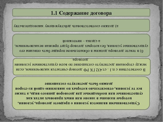 1.1 Содержание договора а) должно соответствовать действующему законодательст...