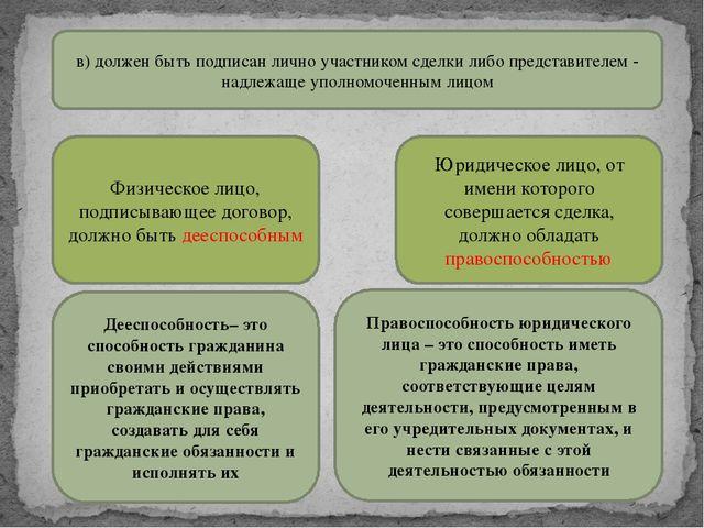 в) должен быть подписан лично участником сделки либо представителем - надлежа...