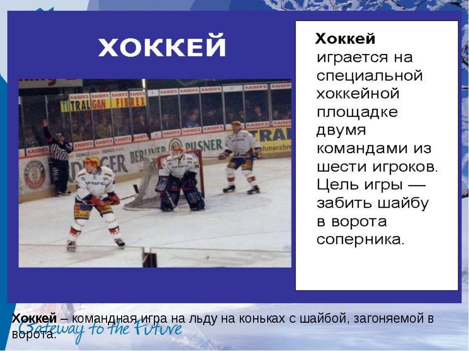 Хоккей – командная игра на льду на коньках с шайбой, загоняемой в ворота.