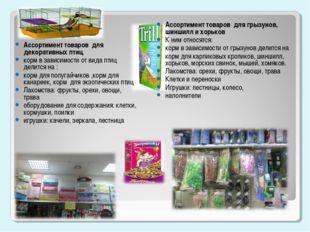 Ассортимент товаров для декоративных птиц корм в зависимости от вида птиц дел